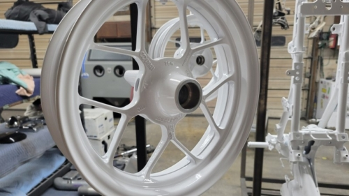Gloss White Motorcycle Wheels and Frame